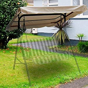 "Swing Canopy Cover (Beige) 77"" x 43"" - Deluxe Polyester Top Replacement UV Block Sun Shade Waterproof Decor for Outdoor Garden Patio Yard Park Porch Seat Furniture"
