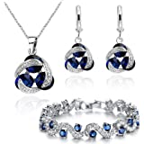 Blue Simulated Sapphire Zirconia Crystals Set...