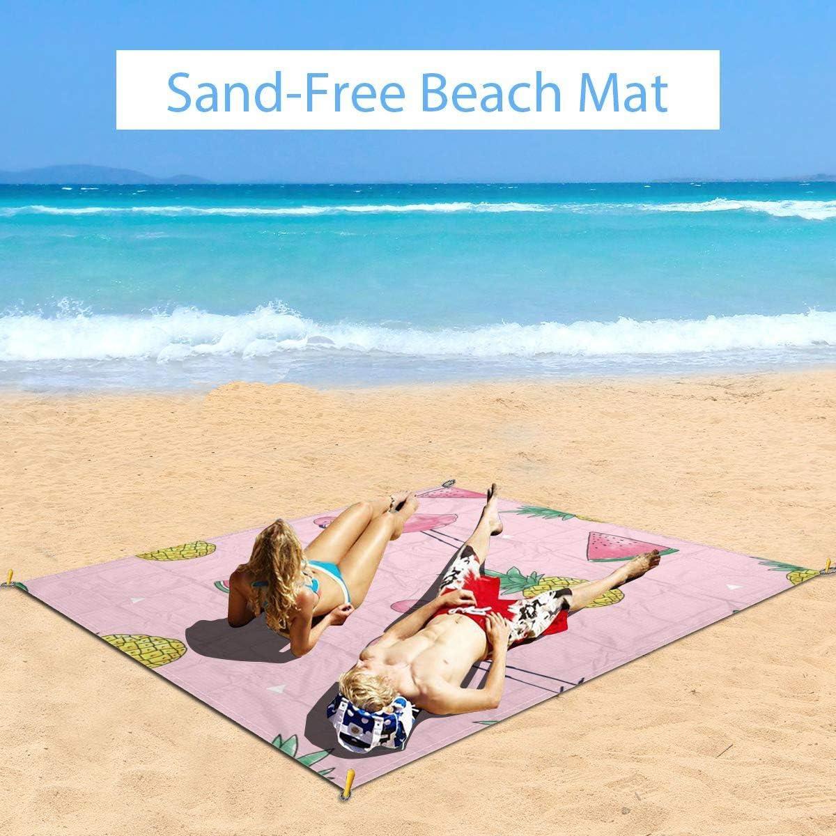 Txc9ds - Tappetino da picnic con fenicottero, ananas, anguria, ideale per picnic, parco, spiaggia, campeggio, portatile, impermeabile Rosa fenicottero ananas anguria