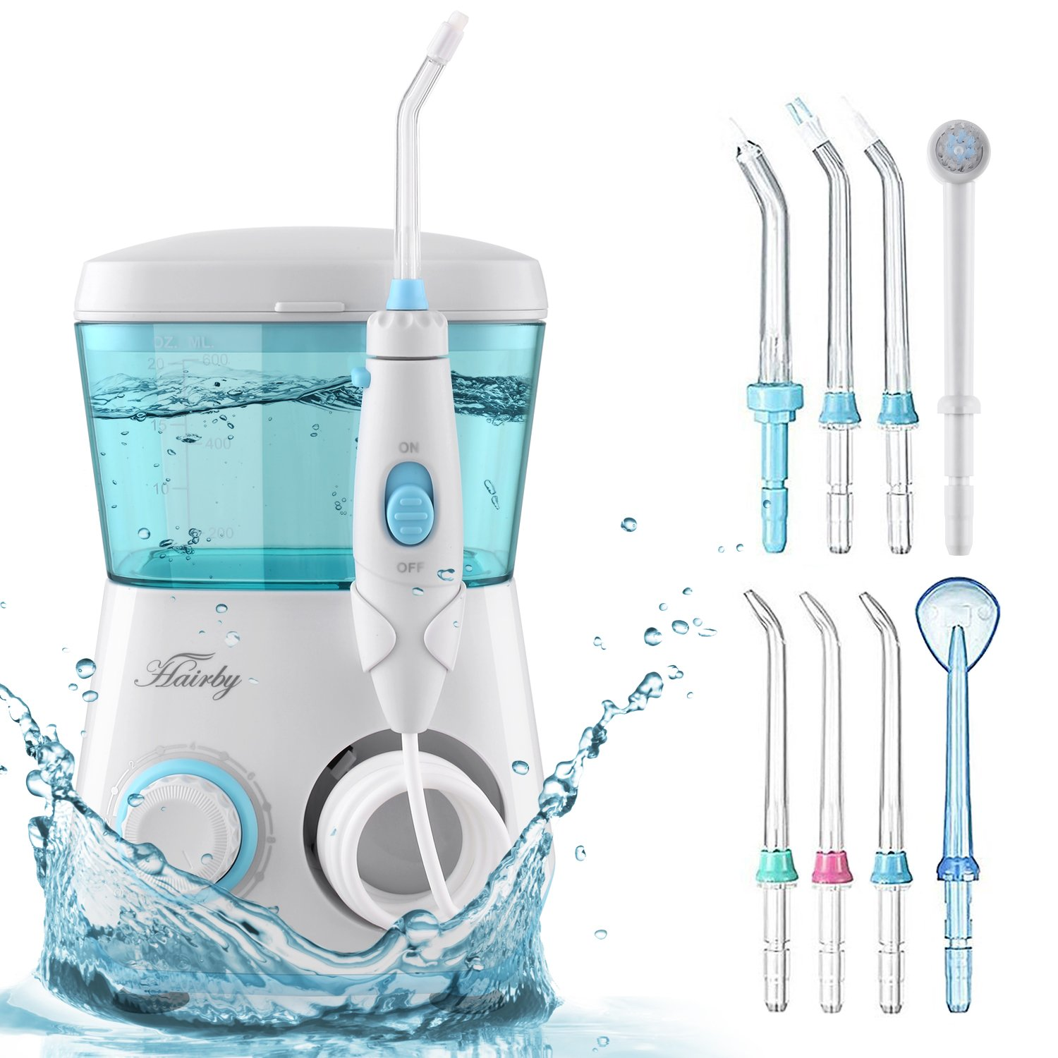 HAIRBY Water Flosser, Dental Oral Irrigator Waterproof Leakproof 600 ML Capacity with 7 Interchangeable Water Jet Tips for Teeth, Gumline, Braces, Bridges Cleaning, Travel and Family Use