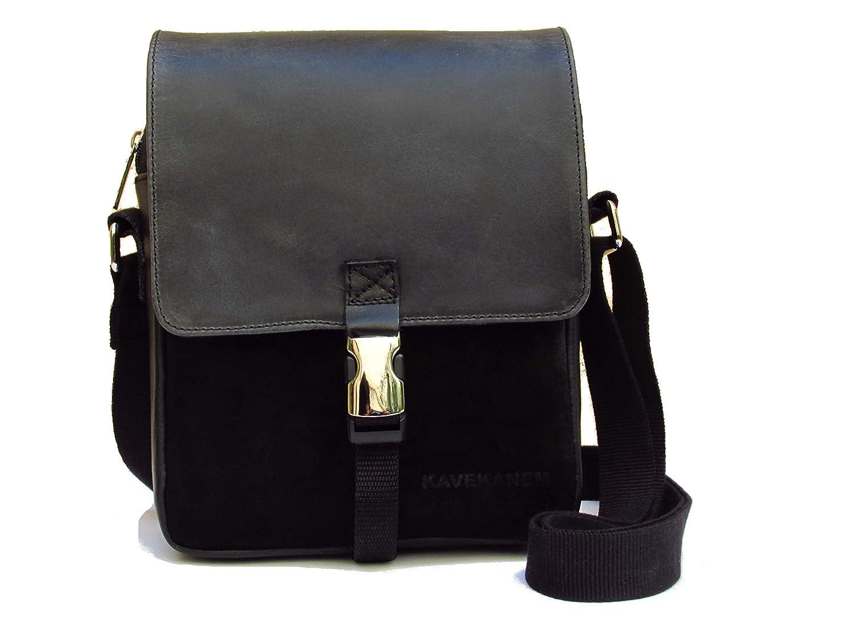 Leather and canvas bag mens. Black messenger bag. Crossbody bag.
