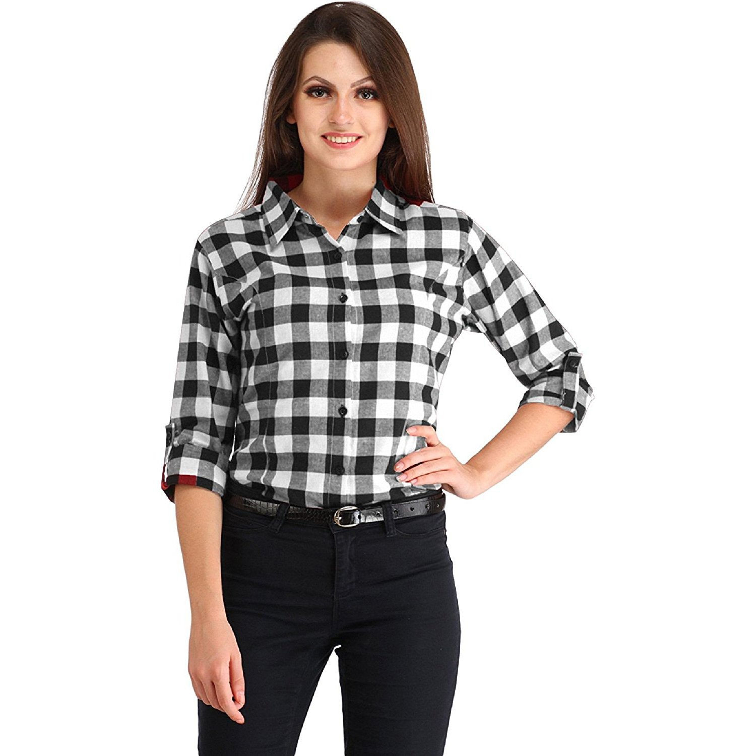 Black And White Checked Womens Shirts