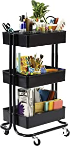 Seville Classics 3-Tier Rolling Steel Bin Kitchen Trolley with Wheels, Black Utility Storage Cart, 16.7