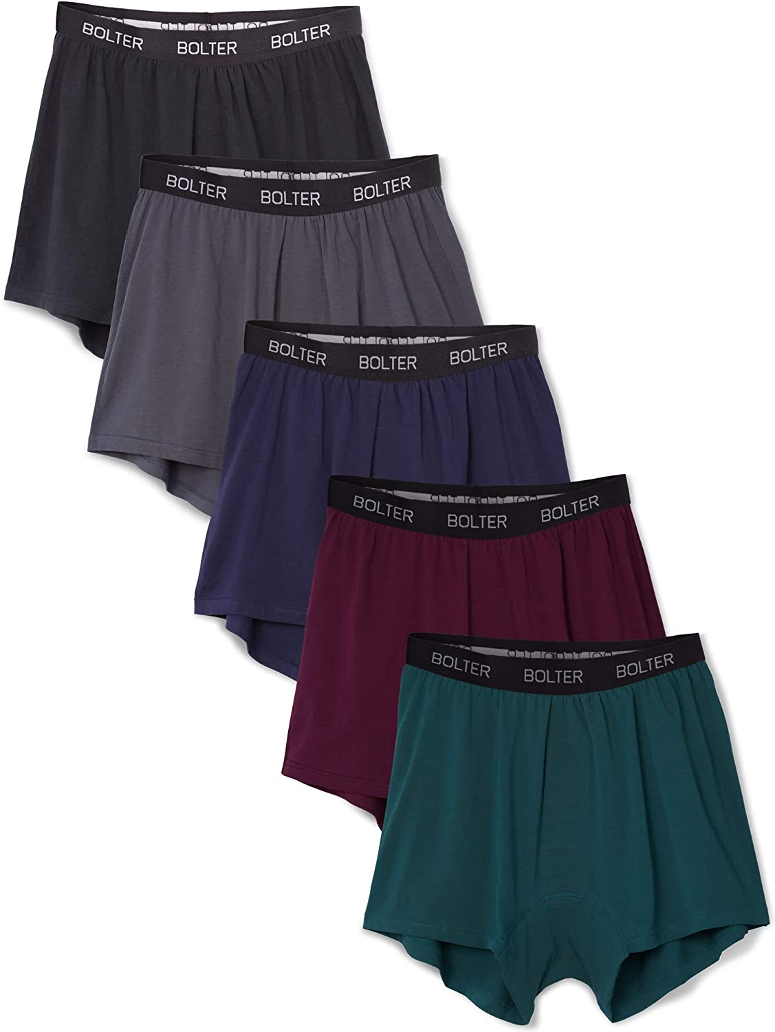Bolter Men/'s 5-Pack Cotton Stretch Boxers Shorts