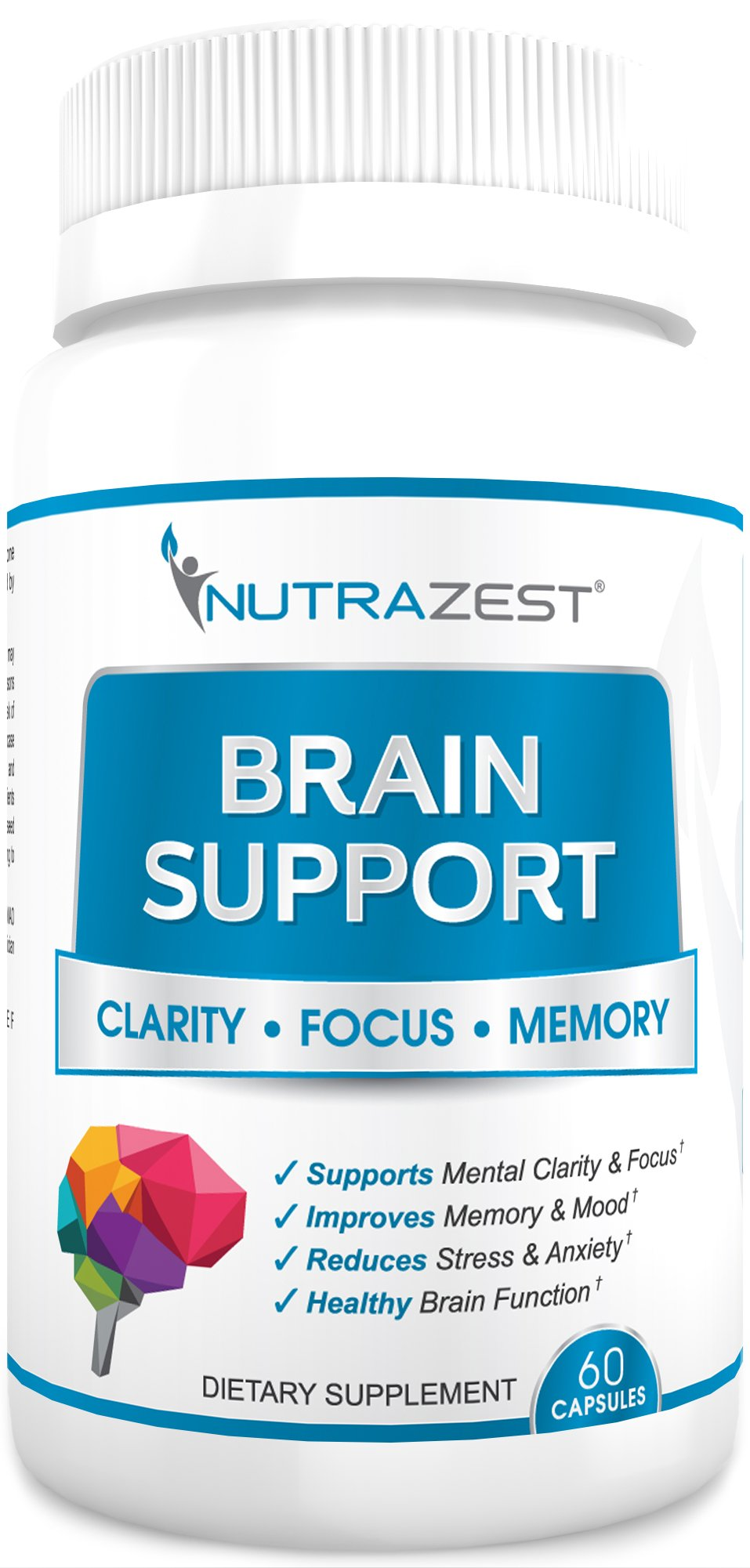 Nutrazest Brain Support - Nootropics Supplement to Aid Focus and Clarity, Support Memory, Sustain Physical Energy and Maintain Mood - with Ginkgo Biloba, St. John's Wort, and DMAE - 60 Capsules by Nutrazest