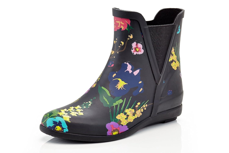 Henry Ferrera Women's Ankle Rain Boots With Elastic Design B0797P9HD2 9 B(M) US|Black Floral