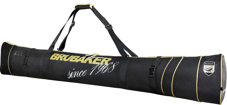 Brubaker Carver Pro Grenoble Skisack für 1 Paar Ski und Stöcke - Schwarz Gold - 170 cm oder 190 cm