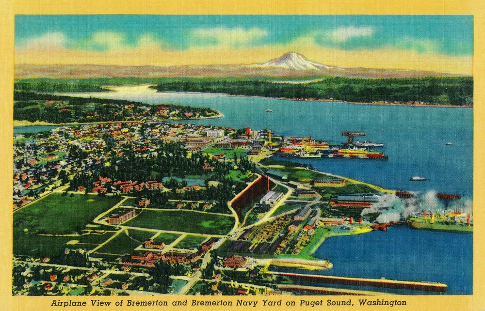 Amazon.com: Aerial View of Bremerton and Bremerton Navy Yard ...