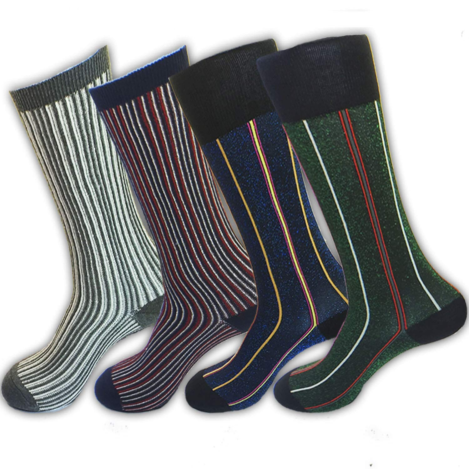 4 Pack Fashionable Women's/Girl's Cotton Comfort Bling Shinning Patterned Knit High Dress Crew Socks