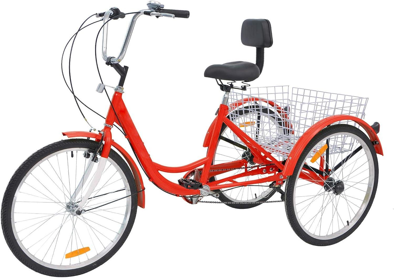 Mens Womens Cruiser Bicycles H/&ZT Single Speed Adult Tricycle Trike Cruiser Bike 3 Wheeled Bicycle w//Large Basket and Maintenance Tools 24 Inch Wheel Size Bike Trike