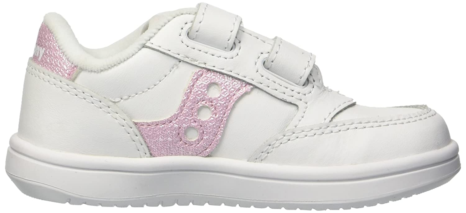 White//White 8 Wide US Toddler Saucony Girls Baby Jazz Court Sneaker