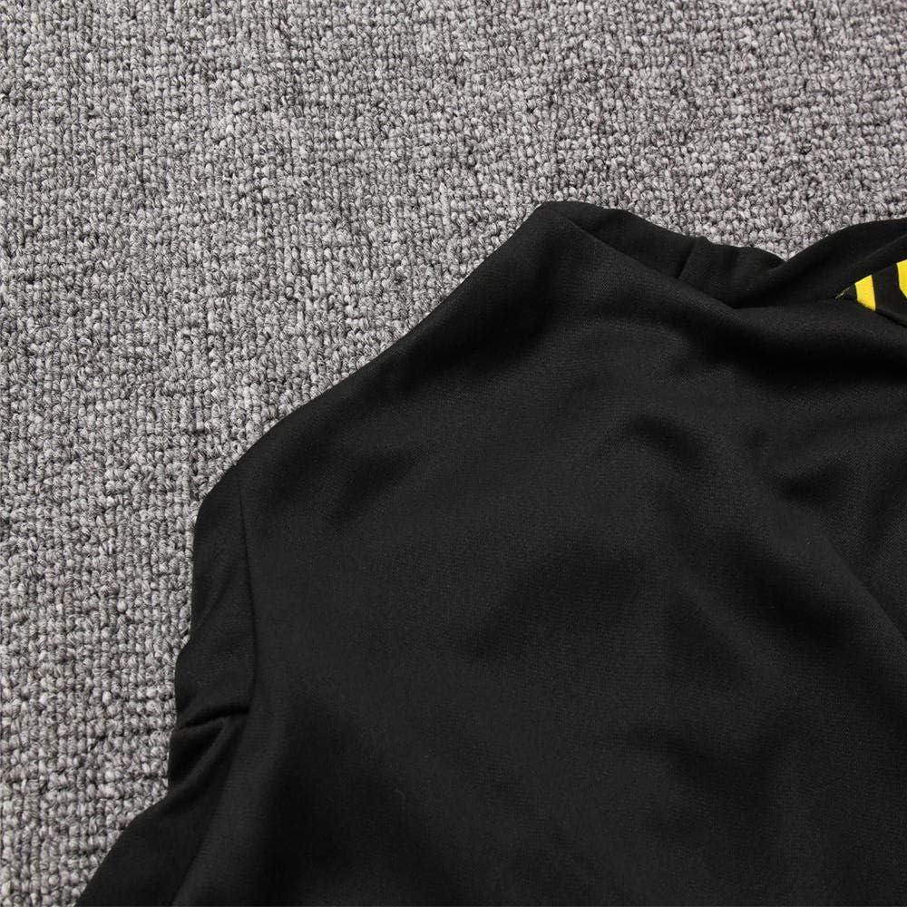 Manga Larga y Pantalones de los Hombres Ropa de f/útbol Club Competici/ón Uniforme de Equipo Uniforme Negro Cremallera Completa Cremallera Manga Larga Pu/ños Acanalados
