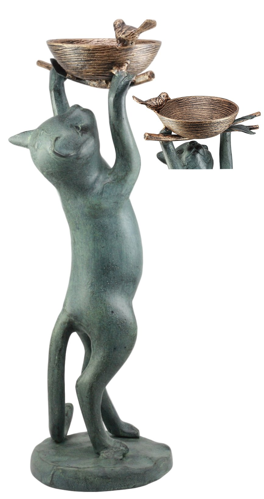Ebros Aluminum Sylvester Cat Reaching For Bird Nest Tweety Bird Feeder Or Bath For Garden Patio Statue