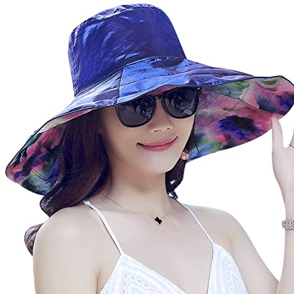 Image Unavailable. Image not available for. Color  RUIXIB Packable Large  Brim Floppy Sun Hat Reversible UPF 50+ Beach Sun Bucket Hats e3b2551f27b9