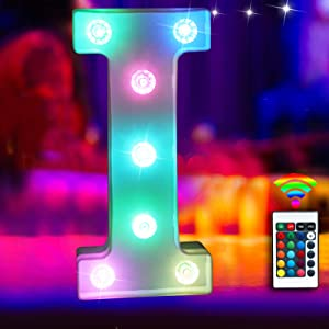Elnsivo 16color Changing LED Marquee Letter Lights Lighted Colorful 26Alphabet Letter with Remote Control Multicolor Letter Lamp for Wall Wedding Party Christmas Home Bar Decoration(RGB Letter I)