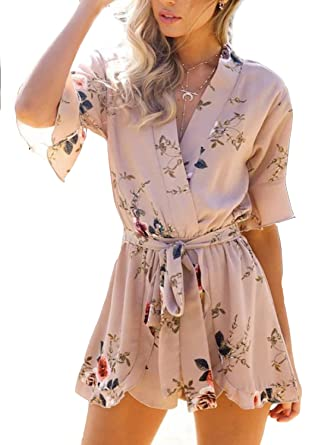 137a73f02c Simplee Apparel Women s Sexy V Neck Romper Chiffon Floral Print Wrap Playsuit  Short Jumpsuit White