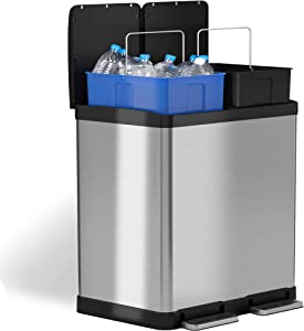 iTouchless SoftStep Dual Compartment Trash Can Recycler 16 Gallon / 61 Liters, Stainless Steel, 2 x 8 Gallon Removable Inner Buckets, Silver 60 Liter