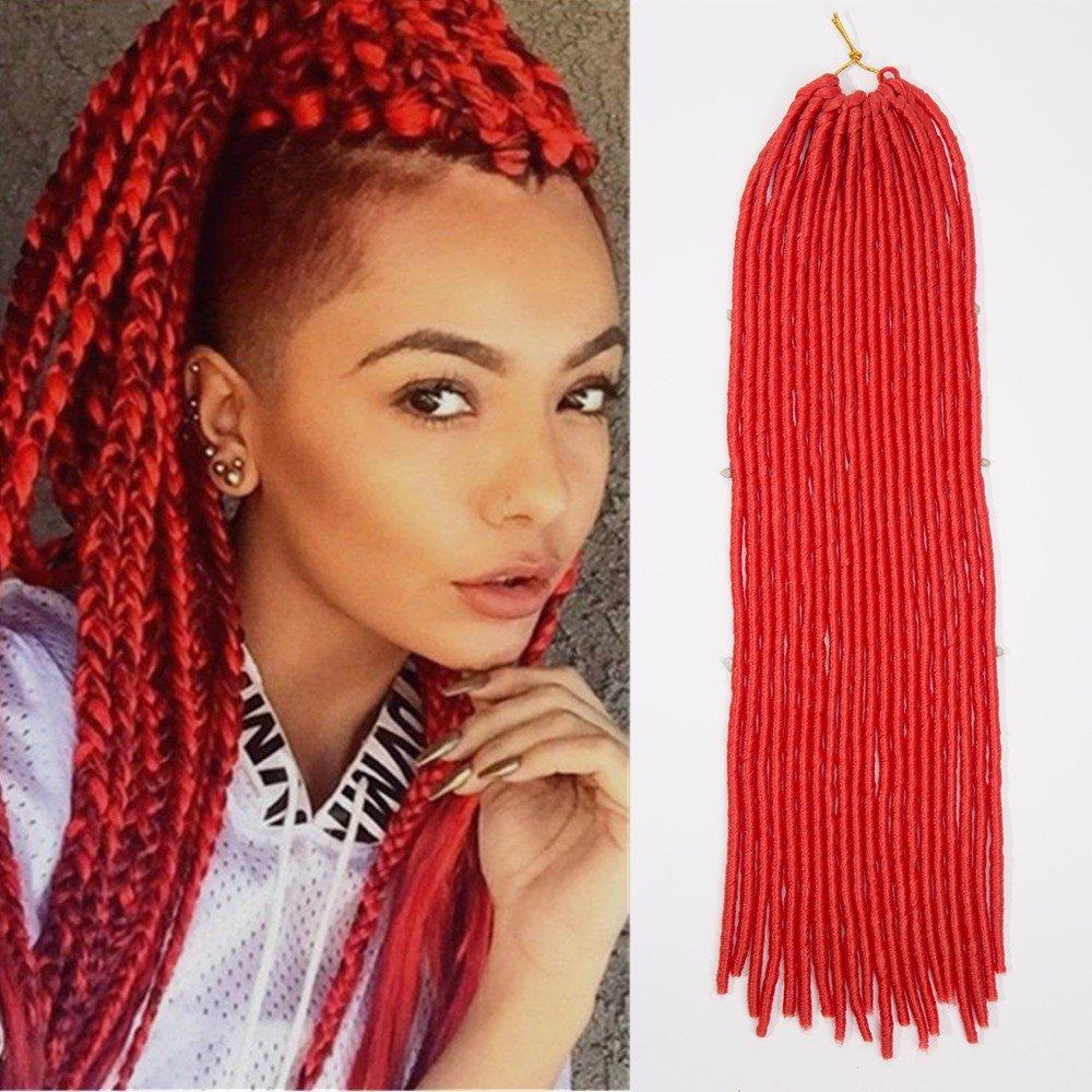Hot Sale 2018 24 Handmade Dreads Red Braiding Hair Extensions
