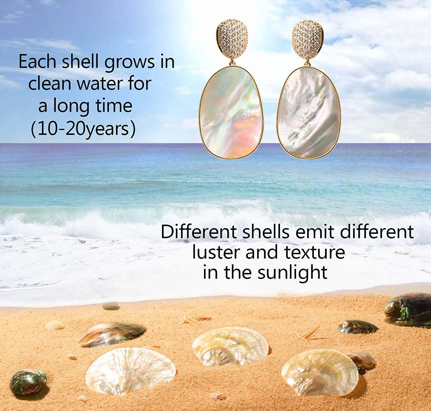 Shell CZ Drop Dangle Earrings For Women Gold Cubic Zirconia Earrings Fashion Statement Big Seashell Hanging Bridal Charming Dangle Abalone Earrings Jewelry Idea Gifts For Mom Sister and Friends