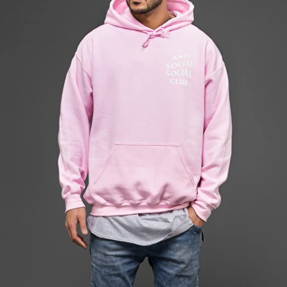2183dc3db5119 Kardiance Pink Anti Social Social Club ASSC Hoodie Hoody  Amazon.co.uk   Clothing