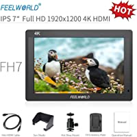 "Feelworld FH7 Kamera Monitor 7"" 4K HDMI Ultra HD 1920x1200 Field Video LCD IPS Bildschirm 1200:1 Hohes Kontrast für Steady Cam, DSLR Rig, Camcorder Kit, Handheld Stabilisator"