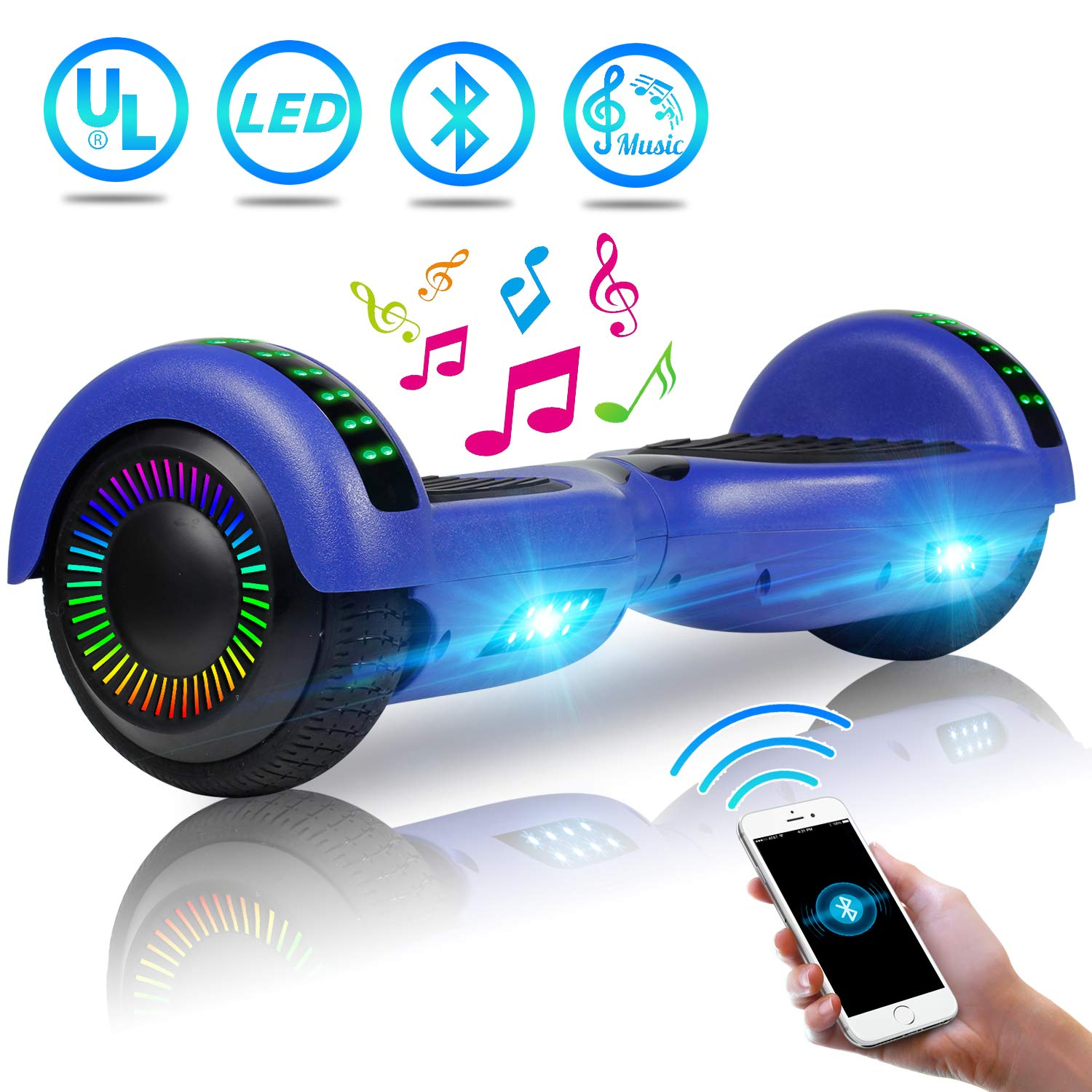 UNI-SUN 6.5'' Hoverboard for Kids, Two Wheel Electric Scooter, Self Balancing Hoverboard with Bluetooth and LED Lights for Adults, UL 2272 Certified Hover Board(Ultimate Blue)