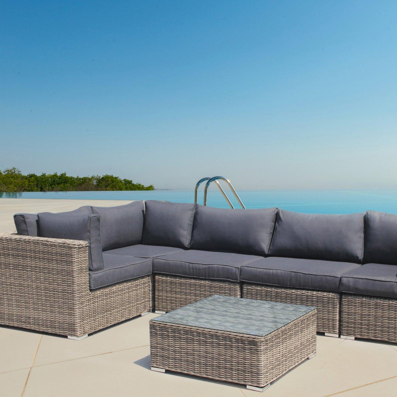 andresa von luxurygarden Ecke Rattan Gartenmöbel Sofa-Set Wintergarten