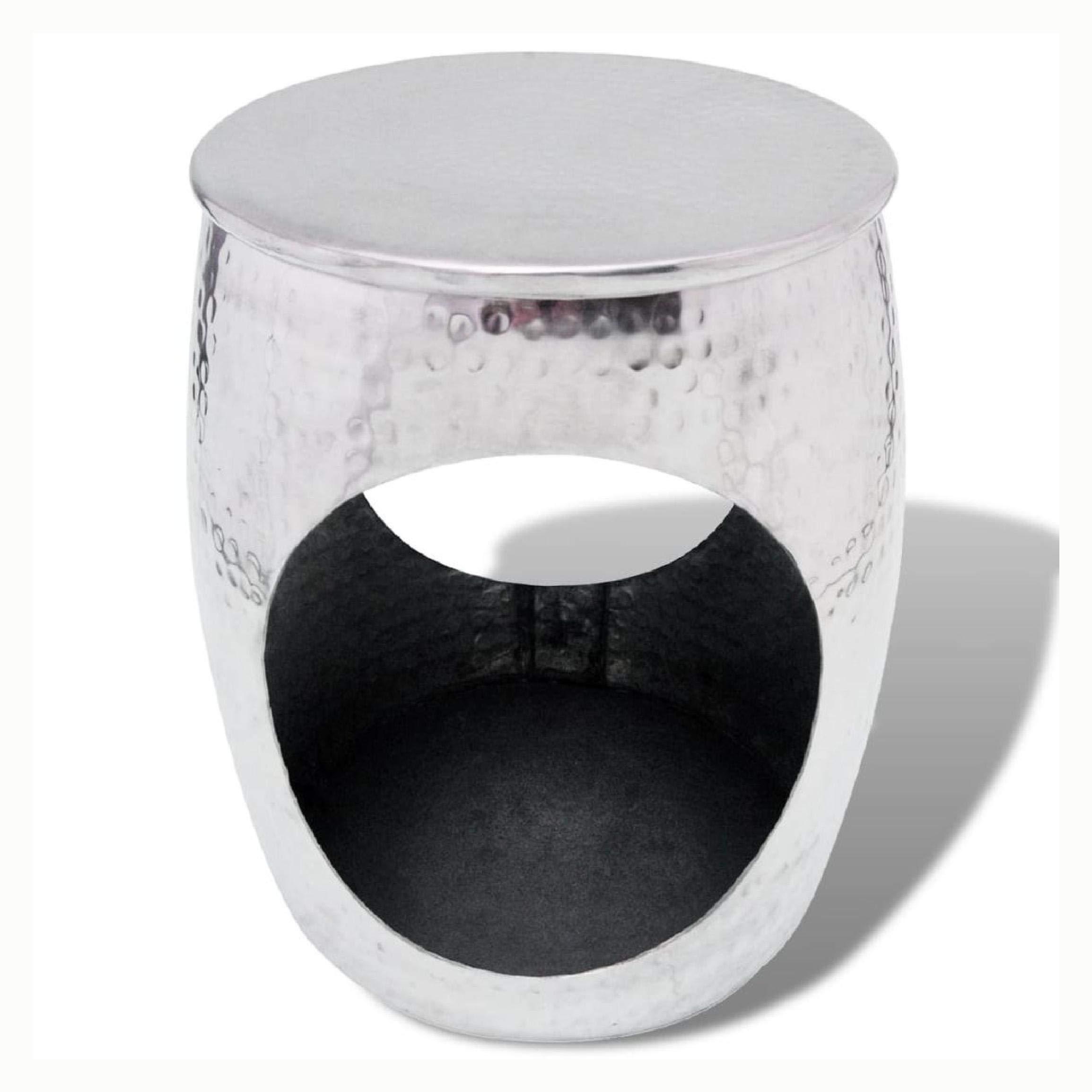 K&A Company Hocker/Side Table Barrel Shape Aluminum Silver by K&A Company (Image #1)