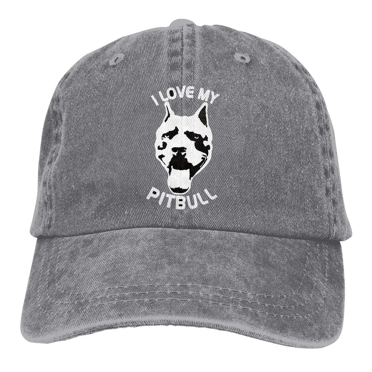 I Love My Pitbull Unisex Personalize Cowboy Hip Hop Cap Adjustable Baseball Cap