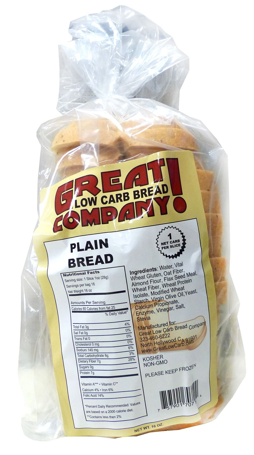 Great Low Carb Thin Sliced Plain Bread X2 Loaves by Great Low Carb Bread Company