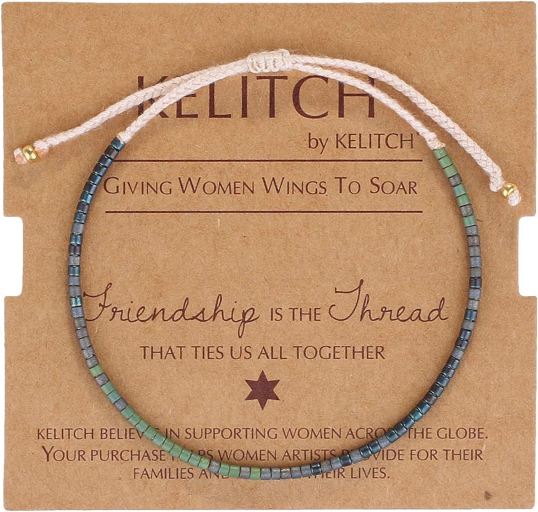 KELITCH Boho-color cristal Shell cuentas pulseras amistad hecho a mano Strand pulsera brazaletes joyería para verano