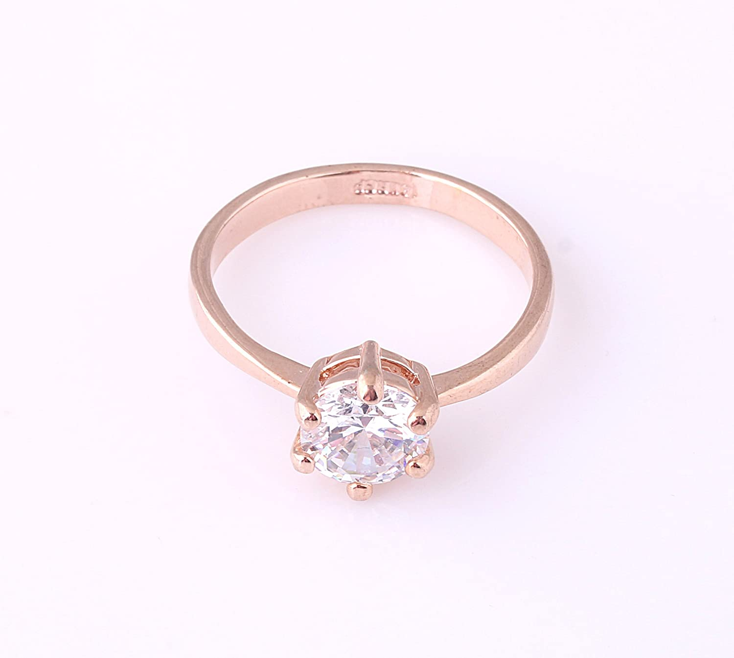 Acefeel 18K Gold Inlaid Zircon Six-claw Ring Promise Wedding Engagement Ring