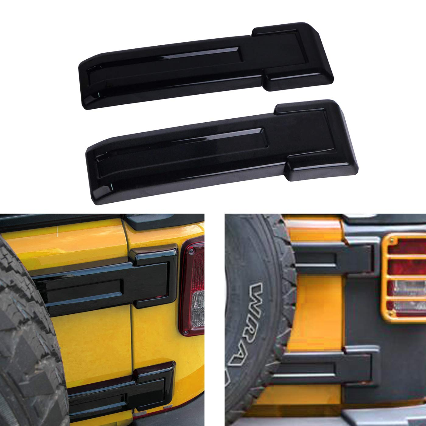 OMOTOR Black Tailgate Hinge Trim Covers fit for 2007-2018 Jeep JK Wrangler & Unlimited
