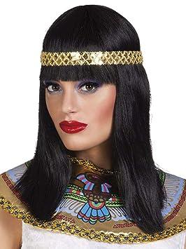 Peluca negra media melena diadema reina del Nilo mujer - Única: Amazon.es: Juguetes y juegos