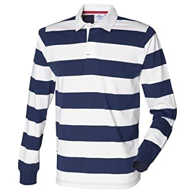 e1505057399 Men's Striped Rugby Shirt by Front Row - Dark Navy/White - XS
