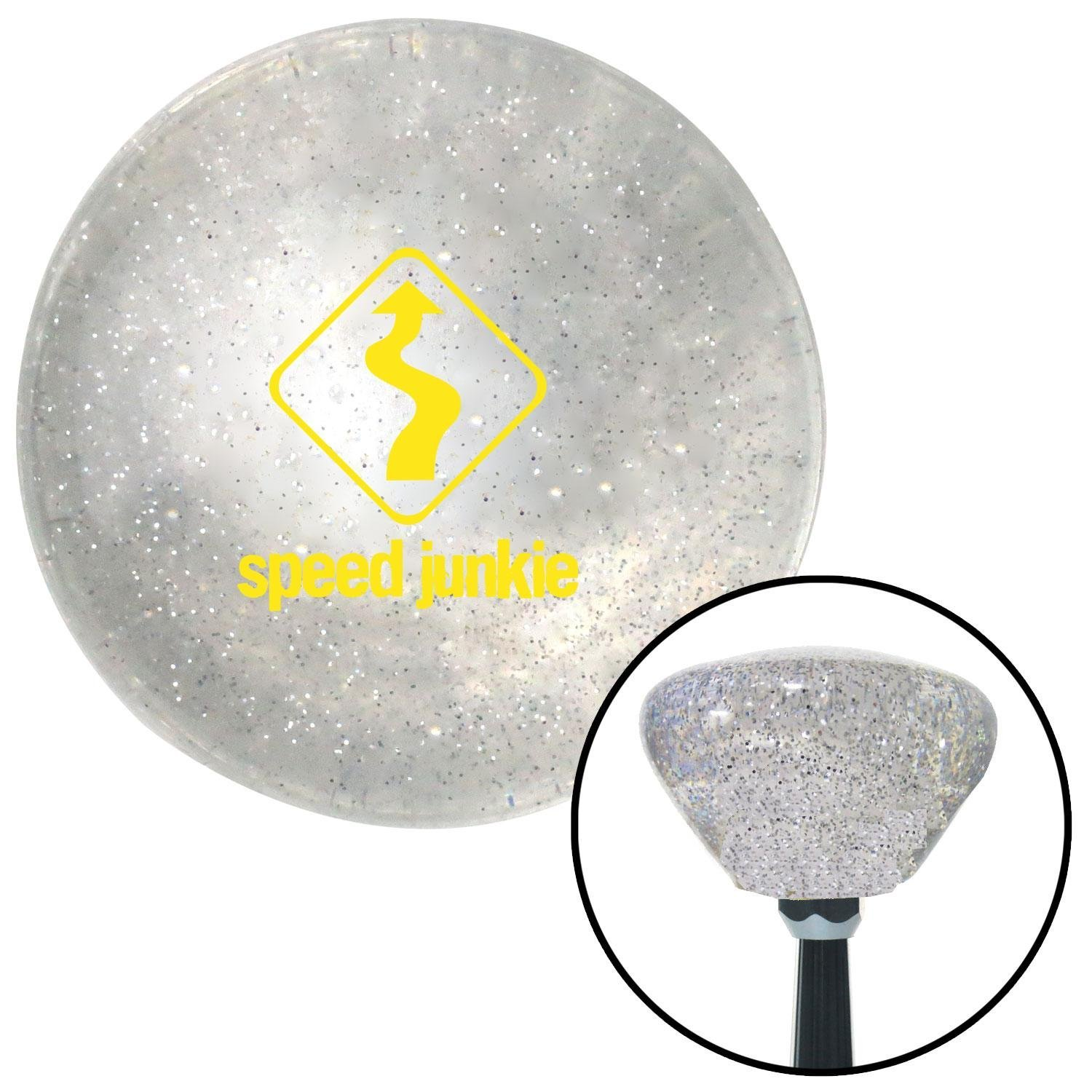 American Shifter 164024 Clear Retro Metal Flake Shift Knob with M16 x 1.5 Insert Yellow Speed Junkie