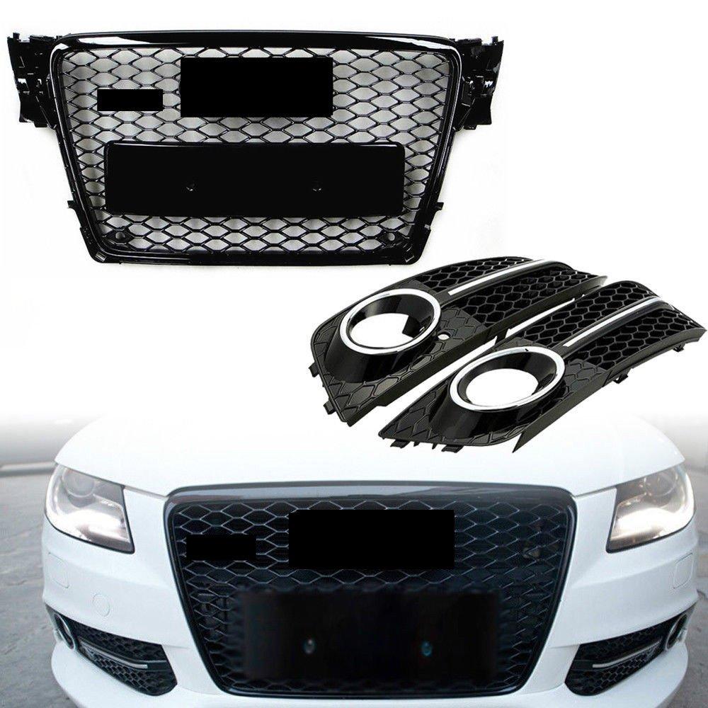 upper griglia fendinebbia griglia di copertura per B8 A4 S4 RS4 Style 2009 –  2012 nero MOTORFANSCLUB