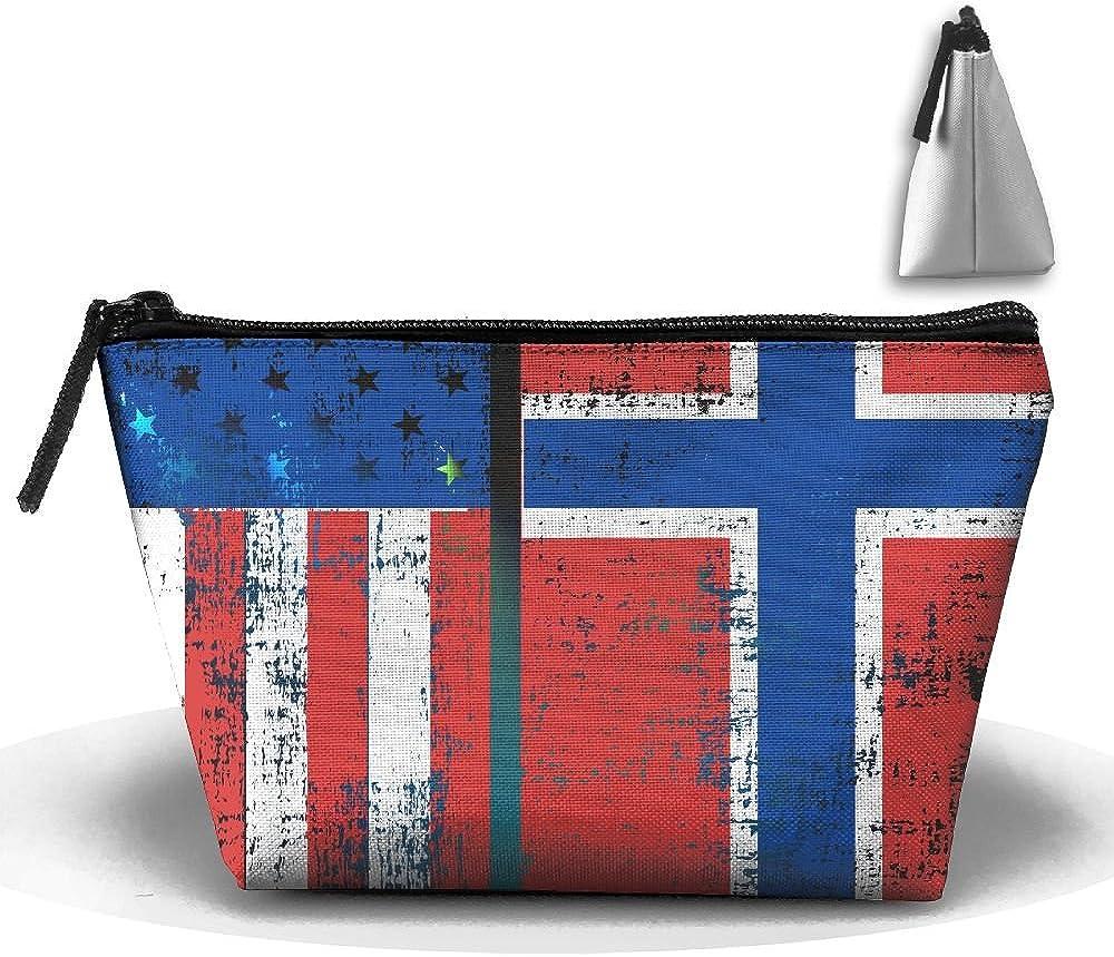 Fengyaojianzhu Norwegian Flag Portable Make-up Receive Bag Storage Capacity Bags For Travel Hanging Zipper