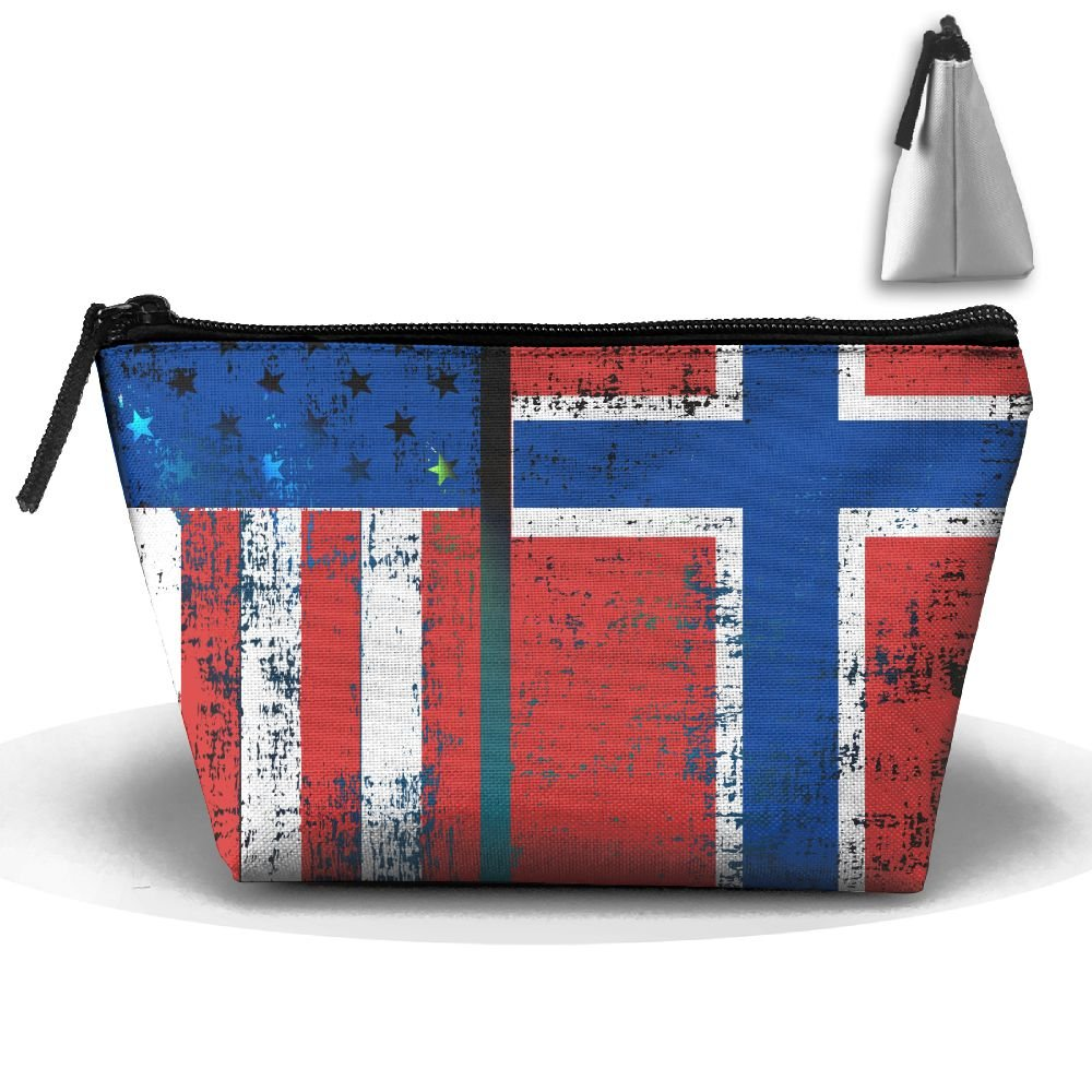 Fengyaojianzhu American Norwegian Flag Portable Make-up Receive Bag Storage Capacity Bags For Travel Hanging Zipper