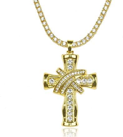 Cadena de Oro con Cruz Hombres Iced Out,Chapado en Oro Real de 18k//Platino Plateado en Oro Blanco Cruz Colgante Collar,Cz Completo Diamante Prong Set,con Cadena de Cuerda 60cm//Cadena Tenis 50cm