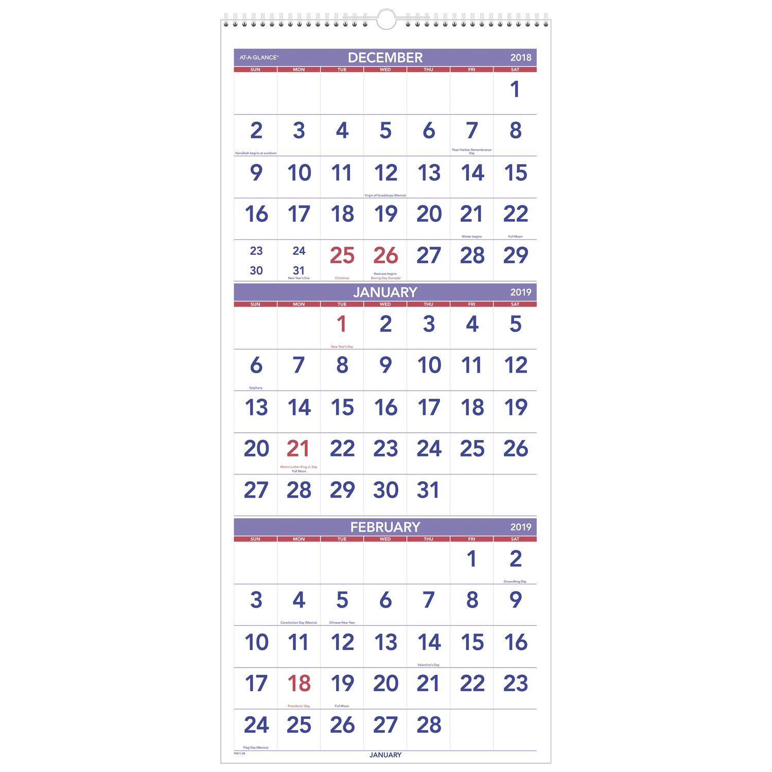 AT-A-GLANCE Wall Calendar, 2019, December 2018 - January 2020, 3-Month Display, 12'' x 27'', Wirebound, Vertical (PM1128)