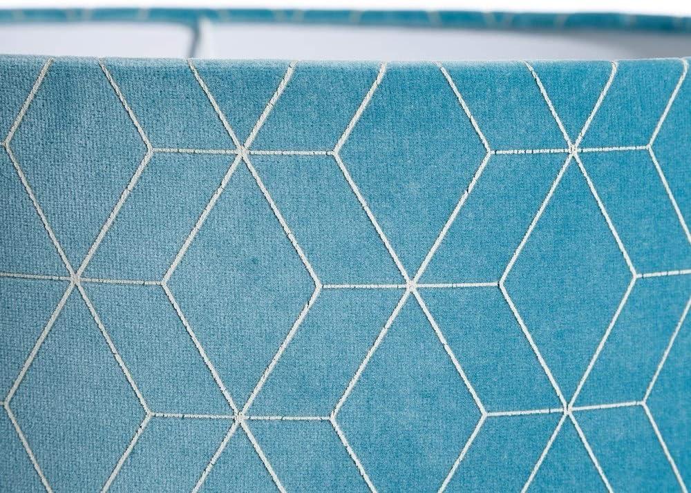 LOLAhome L/ámpara de techo contempor/ánea con pantalla geom/étrica de terciopelo azul /ø 30 cm