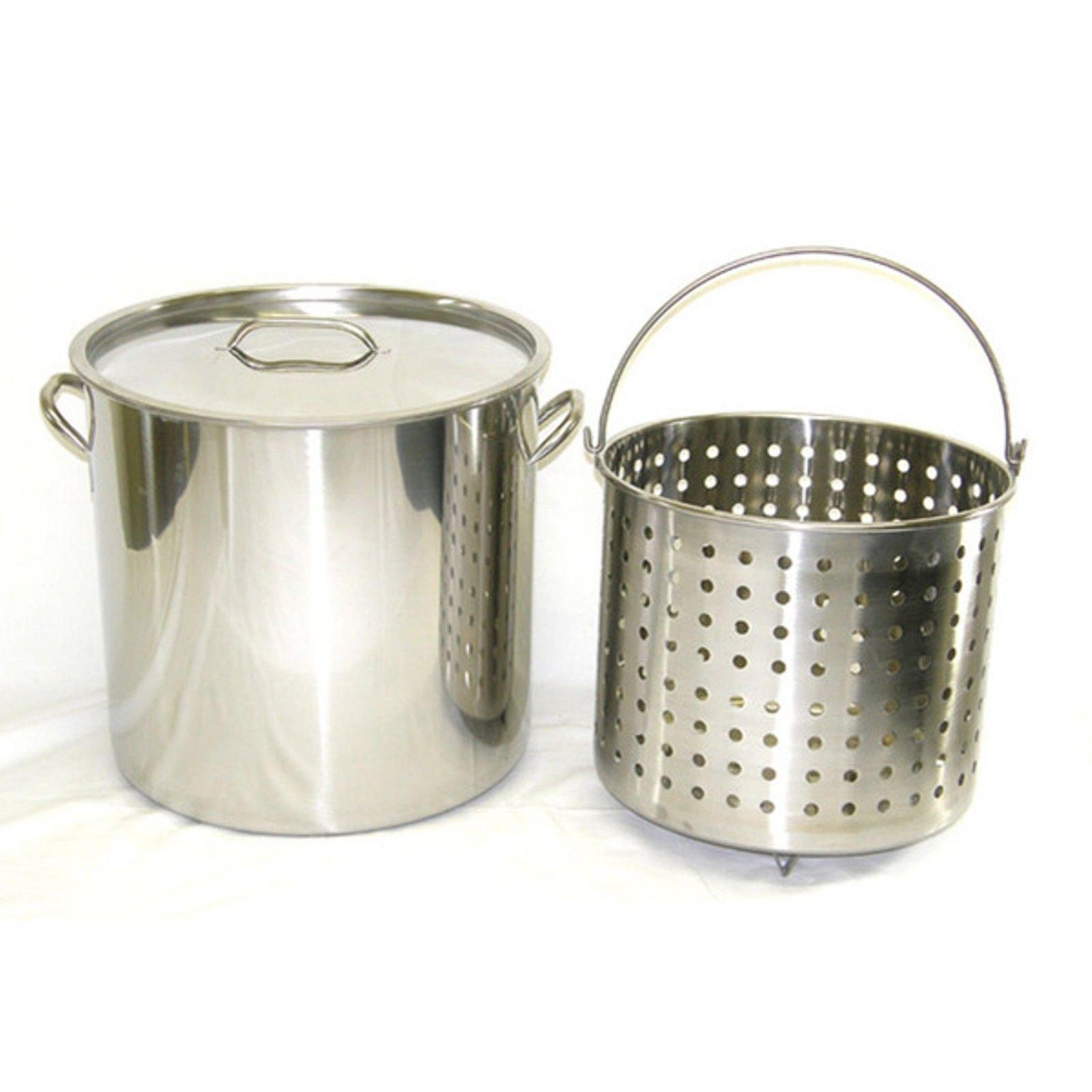 Ballington 13-Gal 16'' Stainless Steel Stock Pot w Deep Steamer/Boil Basket & Lid