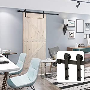 "U-MAX 6 Ft Sliding Barn Door Hardware Kit -Heavy Duty Sturdy, Smoothly and Quietly -Easy to Install - Fit 36""-40"" Wide Door Panel (I Shape Hanger)"