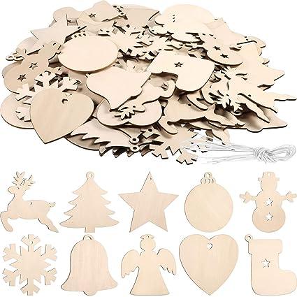 Amazon.com: Tatuo 120 piezas inacabadas adornos de madera de ...