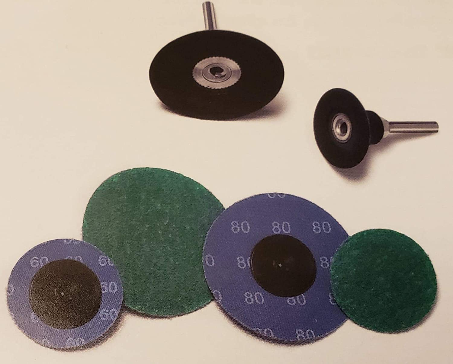 Plastic Button Quick Change Discs 80 Grit 25 Pack Random Products Inc 2 Green Zirconia with Grinding Aid Type R
