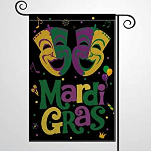 "DONL9BAUER Mardi Gras Mask Garden Flag Vertical Double Sized, Holiday Party Fleur De Lis Yard Outdoor Decoration 12""x18"" Seasonal Banner for Patio Lawn Farmhoue Home Decor"