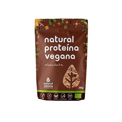 Proteína Vegana de Chocolate - Natural Athlete - 70% de proteína - 100% Natural - BIO - Sin Gluten - Sin Lactosa - Sin Azúcar añadido. 350g