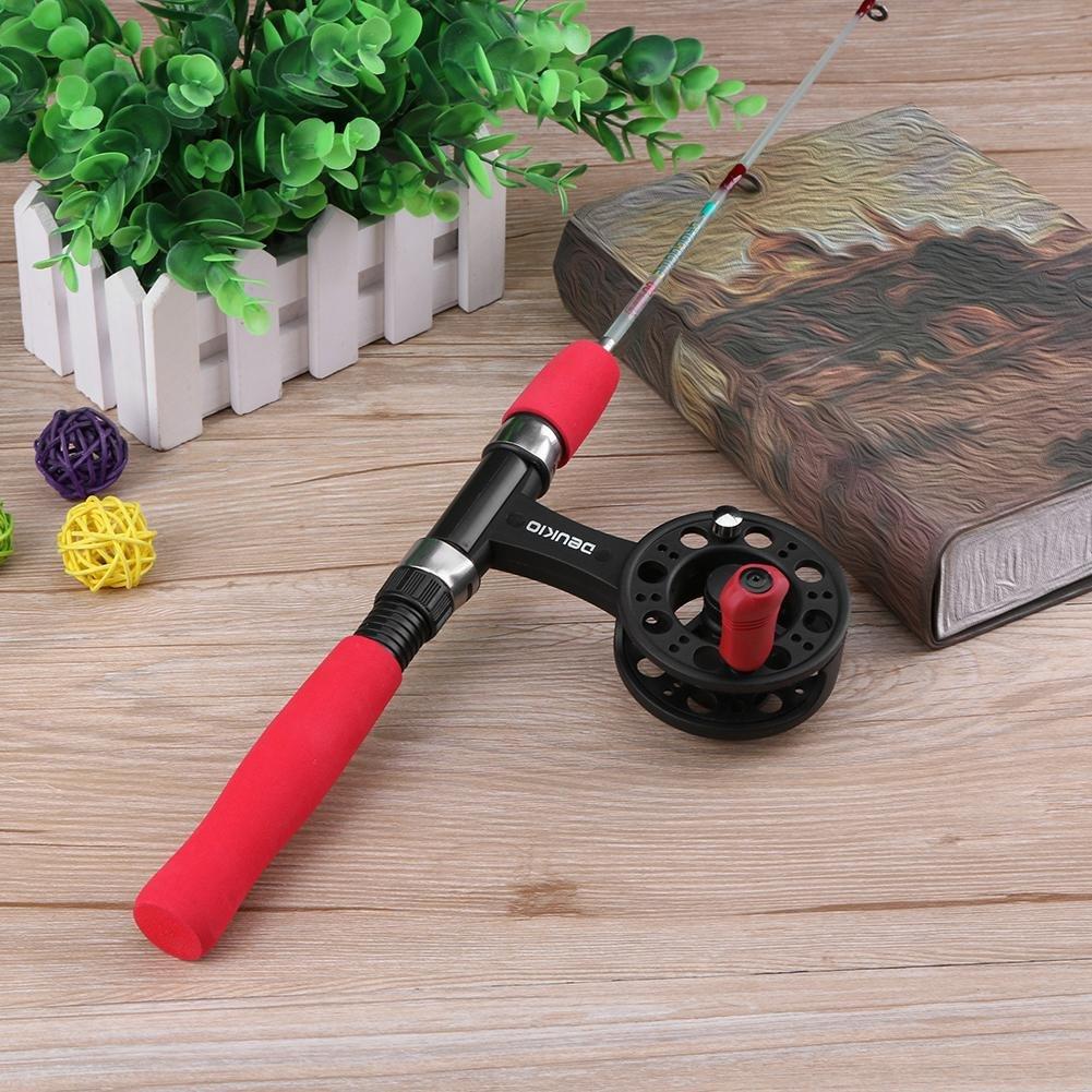 Fishing Reel Fishing Kit Mini 60cm Transparent Telescopic Ice Fishing Rod