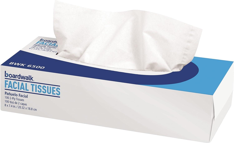 Boardwalk 6500 Facial Tissue, Flat Box, 2-Ply (30 Packs of 100)